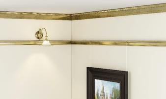 Bronze picture rails room corner