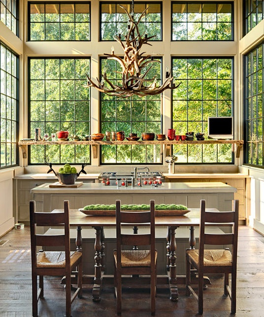 Steel windows in a rustic farmhouse-style home