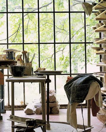 Steel windows in pottery studio